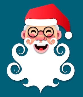 Paper santa claus merry christmas and new year vector