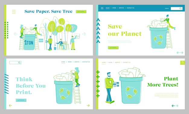 Paper saving, stop trees cutting and deforestation landing page template set. eco conservation, tiny characters throw paper waste to recycle litter bin for reusing. linear people