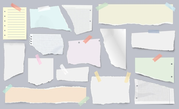 Paper scraps on sticky tape, page pieces with torn edges. realistic ripped newspaper, ragged notebook sheet, ripped papers strips vector set. squared and lined fragments for notes and memos