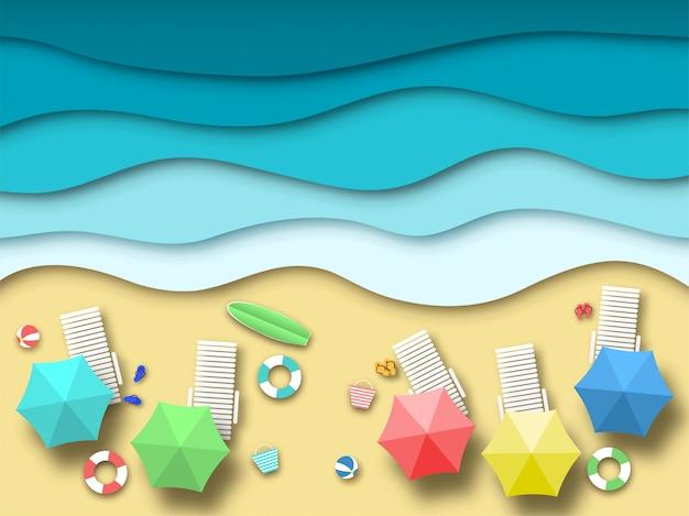 Бумажный морской пляж. летний отдых пейзаж с песком, океаном и солнцем, летний отдых 3d оригами. бумага искусство векторный фон