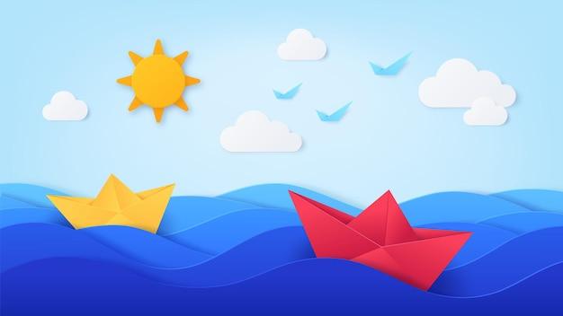 보트와 종이 바다. 파도, 배, 푸른 하늘, 태양, 새, 구름이 있는 종이접기. 종이 컷 스타일, 벡터 아트의 여름날 바다. 바다 보트 종이 접기 종이, 배와 요트 여행 그림
