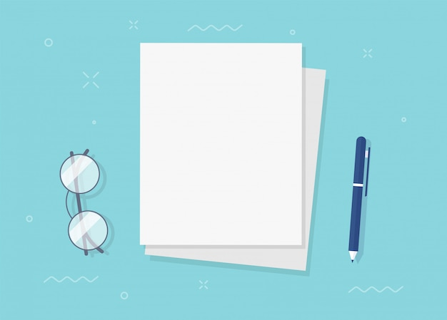 Paper sheet documents blank empty for copy space text on workplace table desk top view