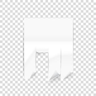 透明な背景に分離された紙シート。