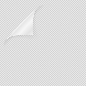 Лист бумаги. прозрачный чистый лист бумаги на прозрачном фоне. реалистичный загнутый угол верхней страницы. элемент иллюстрации