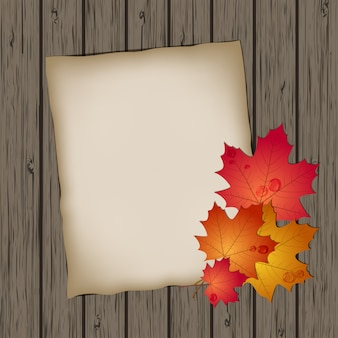 Paper sheet with autumn leaves on wooden background texture.  illustration