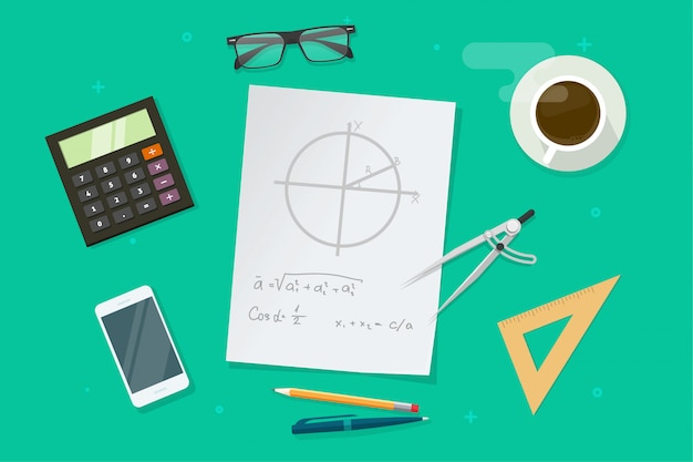 Paper sheet with geometry math formulas and drawing graphs