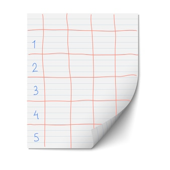 Paper sheet with lines for design template