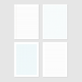 Paper sheets collection of a4 format, vector illustration Premium Vector