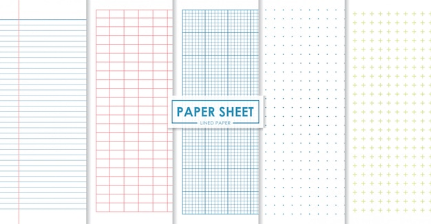 Paper sheets lined and dots collection