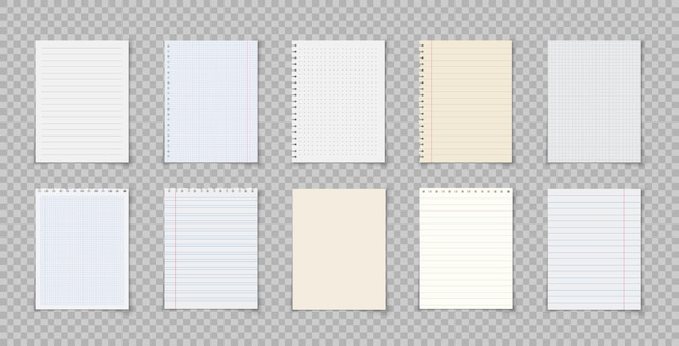 Paper sheets with lines and squares for memo notebook or book page realistic lined notepapers