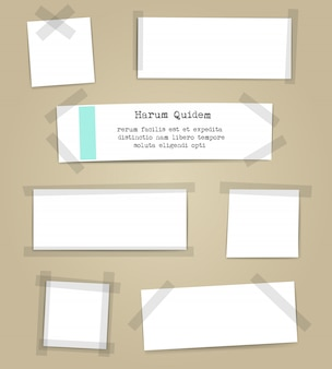 Paper sheets with scotch tape pieces