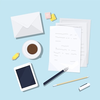 Paper sheets with written text, envelope, postage stamps, fountain pen, pencil, smartphone, cup of coffee and sweet on table surface
