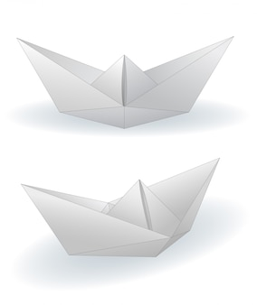 Paper ships set illustration