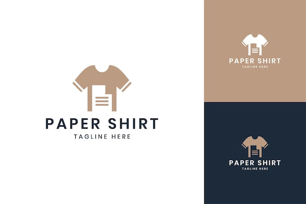 Paper shirt negative space logo design