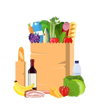Paper shopping bag full of groceries products. grocery store