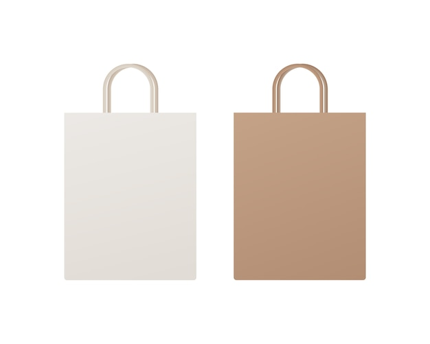 Paper shopping bag packaging. empty shopping bag mockup. mockup isolated.