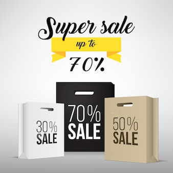 Paper shopping bag with sale promotion.