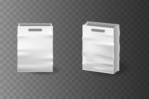 Набор реалистичных белой бумажный мешок. набор paper shopping bag для фирменного стиля и фирменного стиля.