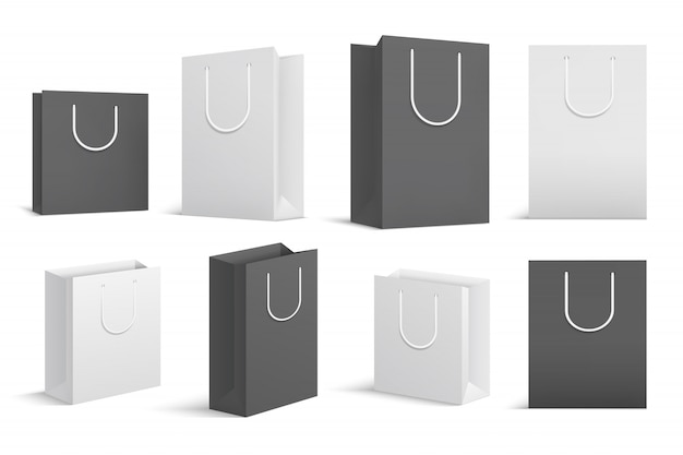 Paper shopping bags. black white blank cardboard package. close up shopping bag mockups