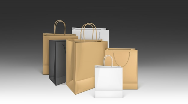Paper shopping bags, blank packages mockup set