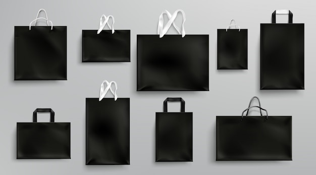 Paper shopping bags mockup, black packages set