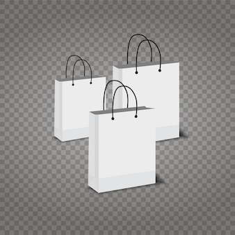 Paper shopping bags set on transparent background