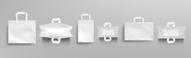Paper shopping bags top and front view mockup