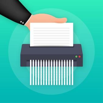 Значок уничтожителя бумаги документ защиты информации бизнес-офиса. векторная иллюстрация.