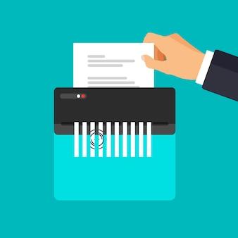 Значок уничтожителя бумаги сломанный или порванный конфиденциальный и личный документ рука держит контракт