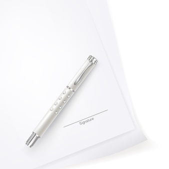 Paper signing with luxury pen