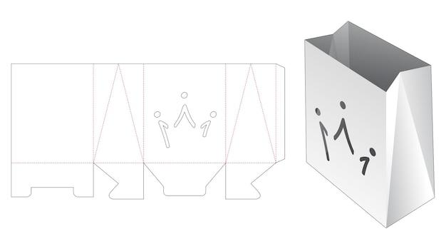 Paper simple bag with crown stencil die cut template
