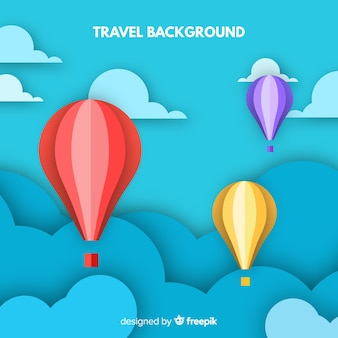 Paper sky travel background