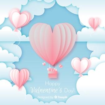 Paper sky valentine's day background
