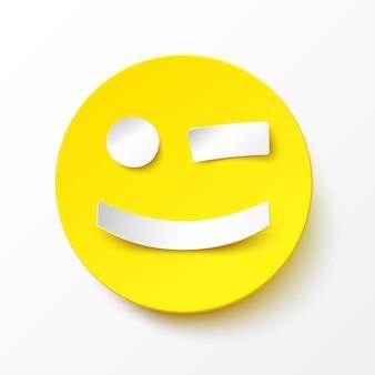 종이 미소. 현실적인 그림자가 있는 종이 스타일의 둥근 노란색 윙크 미소. 벡터 행복 한 얼굴 그림