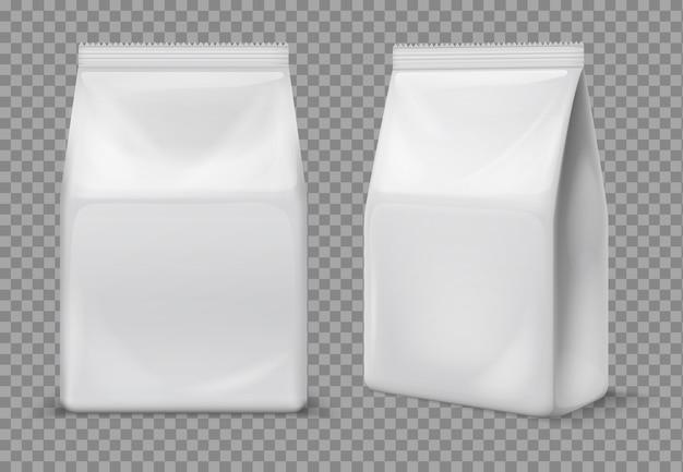 紙スナックバッグ。食品ブランクの白い小袋、包装