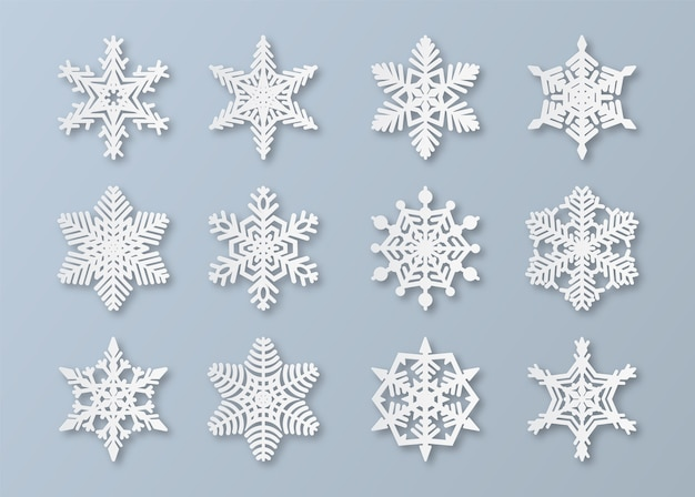 Paper snowflakes. new year and christmas papercut snowflake elements. white winter snow ornament decoration, origami abstract ice  set