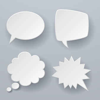 Paper speech bubbles. white origami 3d retro clouds thought chat or dialogue text message balloon concept
