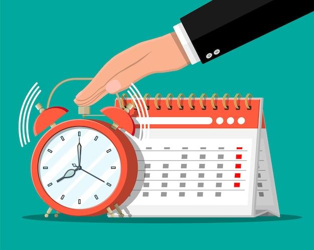 Paper spiral wall calendar, clocks and hand