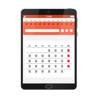 Paper spiral wall calendar in tablet pc
