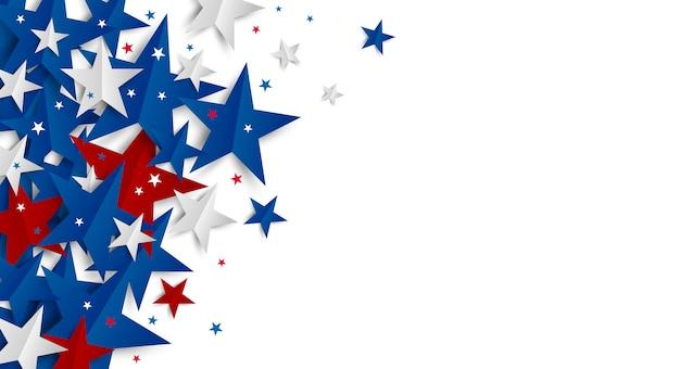 コピースペース独立記念日と休日のバナーと白い背景の上の紙の星