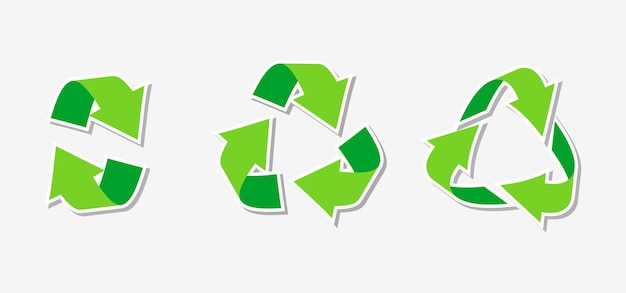 Paper sticker eco friendly green triangular recycling symbol rotate circle arrow icon rotation infographics element for website app logo for using recycled resources isolated vector illustration