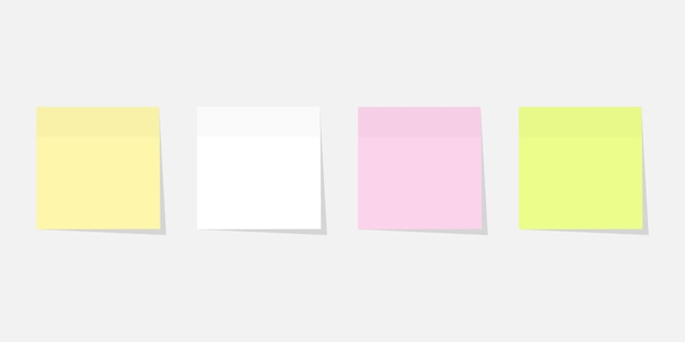 Paper sticker set different colours with shadow.