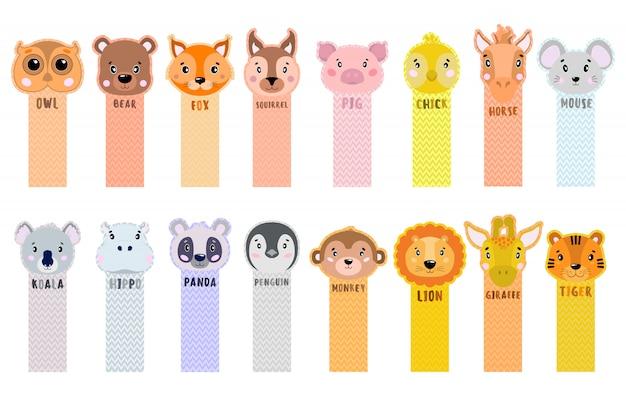 종이 스티커 테이프는 어린이를위한 동물과 함께 모서리에서 벗겨집니다.