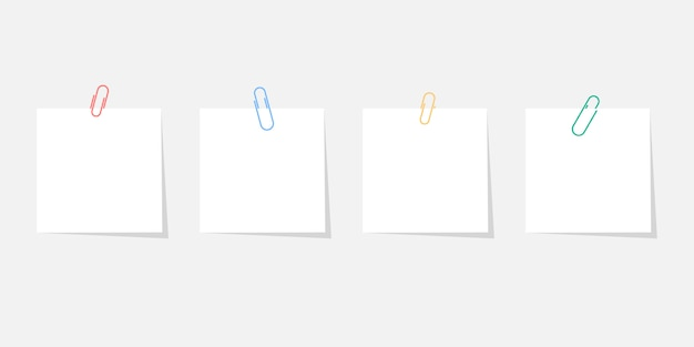 Paper sticker with paperclip set with shadow isolated on grey background