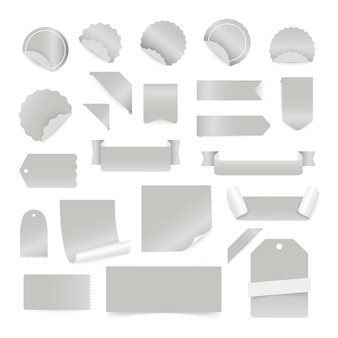 Paper stickers and labels isolated on white background.