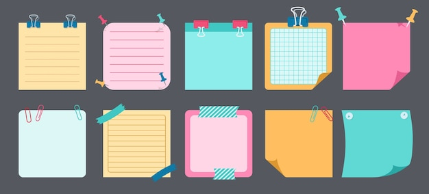 Paper sticky note flat set. blank notes with elements of planning. notebook collection with curled corners, push pins. various tag business office, writing reminds. illustration