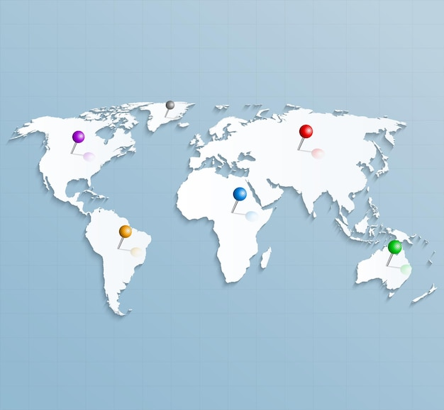 カラフルなピンで世界の紙の戦略マップ
