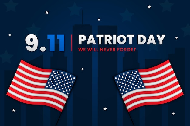 Paper style 9.11 patriot day background