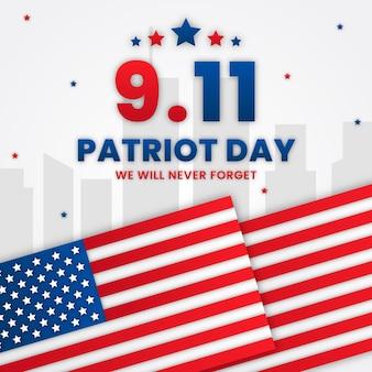 Бумажный стиль 9,11 день патриота иллюстрация