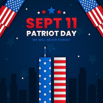 Paper style 9.11 patriot day illustration